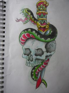 Dagger Doodle Traditional  Free Download Tattoo 7232
