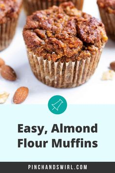 Enjoy these easy Almond Flour Muffins for a healthy and portable breakfast or snack! They are naturally sweetened with ripe banana, dates and cinnamon! A perfect recipe for those on gluten free and paleo diets! #almondflourmuffins #healthyalmondflourmuffins Make Almond Flour, Almond Flour Muffins, Easy Desserts, Dessert Recipes, Banana Oatmeal Cookies, Healthy Breakfast Recipes, Healthy Snacks, Gluten Free Muffins, Afternoon Snacks