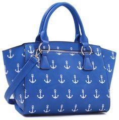 Nautical Anchor Rockabilly Faux Leather Crossbody Shoulder Handbag Purse