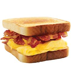 Behold – melty cheese, your choice of savory sausage, crispy bacon or delicious ham, all stacked up on thick Texas Toast and served with fluffy eggs. Sounds like breakfast heaven if you ask us.