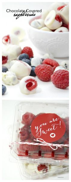 Valentine's Day | White Chocolate Covered Raspberries are a great healthier treat. Perfect for Valentine's Day, Mother's Day or serve at your next party! Free Printables!