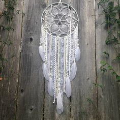 White Doily Dreamcatcher // Handmade Dream Catcher by InspiredSoulShop on Etsy