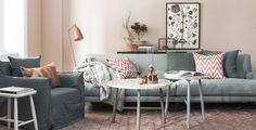 A cor do ano living coral ou coral vivo - Liliana Zenaro Interiores My Living Room, Home And Living, Living Room Decor, Living Spaces, Pastel Room, Pink Room, Gray Sofa, Pink Walls, Scandinavian Interior