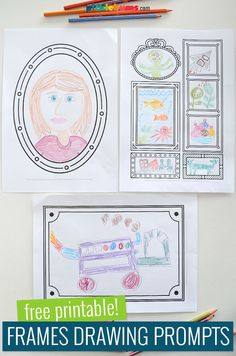 Picture Frame Drawing Prompts. Thes free printable picture frame drawing prompt are a great art activity for kids of all ages. They are a fun, no-prep, drawing activity that everyone will love. Drawing Activities, Art Activities For Kids, Spring Activities, Learning Activities, Painting For Kids, Drawing For Kids, Art For Kids, Drawing Frames, Cool Drawings