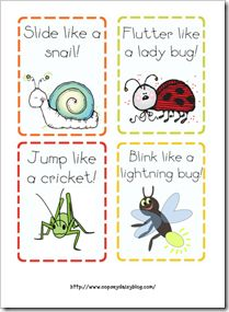 Insect movement cards.  Also and insect body parts song to London Bridges...have to look through but great insect movement cards and fingerplays to use in class