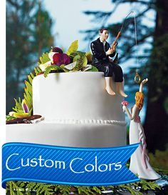 """Hooked on Love"" Fishing Groom and Reaching Bride Wedding Topper $47.50 at daisy-days.com"