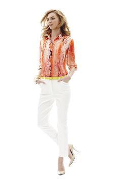 Trends: Animal print; worthington snake print silk blouse and ankle pants