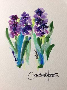Purple Hyacinths Watercolor Card
