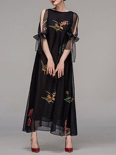 Shop Maxi Dresses - Black Crew Neck Floral Elegant Maxi Dress online. Discover unique designers fashion at StyleWe.com.