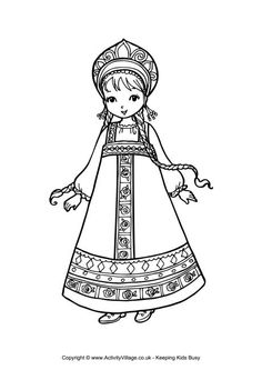 Russian girl colouring page *Another Celebrated Dancing Bear*