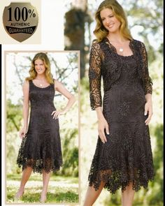 Soulmates C9126 Crochet Beaded Silk Lace Fit-n-Flare Tea Length 2 pc Jacket Dress (Missy, Plus Sizes) - Mother of the Wedding
