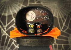 Vintage Halloween Owls and Moon Shadow Box by MidnightJamboree, $16.00
