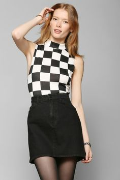 Coincidence & Chance Checkered Mock-Neck Top