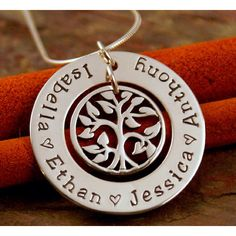 Family tree necklace...great mothers day idea *wink *wink