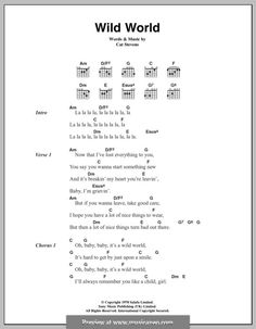 Wild World: Lyrics and chords by Cat Stevens Guitar Chords And Lyrics, Easy Guitar Songs, Guitar Chords For Songs, Guitar Sheet Music, Ukulele Songs, Guitar Lessons, Music Songs, Music Lessons, Art Lessons
