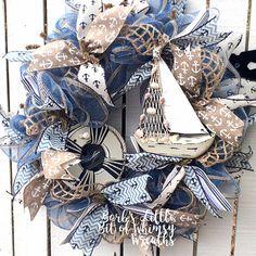 Sailboat Wreath Nautical Wreath Ocean Wreath Beach Wreath