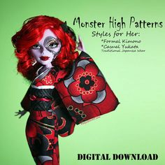 Easy Monster High custom Kimono doll clothes pattern by DGRequiem, $3.00
