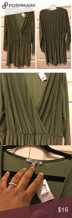 Romper Army green long sleeve romper Charlotte Russe Pants Jumpsuits & Rompers
