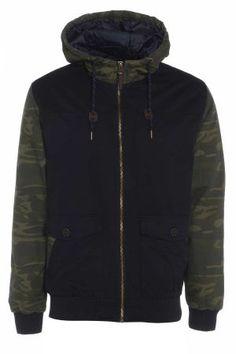 Mens Camo Sleeve Hooded Jacket £57 http://www.bravesoul.co.uk/shop/clothing/mens-camo-sleeve-hooded-jacket?colour=Navy  #camo #mensfashion