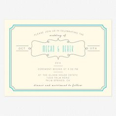 Blue Skies Wedding invitations. she likes how simple and tidy this one is, and how the color pops out