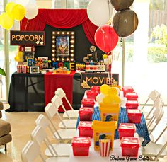 Party table and popcorn bar at a Lego boy birthday party!  See more party ideas at CatchMyParty.com!
