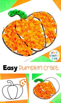 Looking for easy pumpkin crafts for kids to make at home or preschool / school? These easy tissue paper pumpkin crafts for kids are cute   simple for children to make with our printable craft templates. Get the easy pumpkin craft for kids template   other easy fall crafts for kids here! Easy Pumpkin Crafts for Preschoolers | Easy Fall Tissue Paper Crafts for Kids | Easy Pumpkin Kids Crafts | Easy Fall Kids Crafts Ideas | Easy Fall Arts and Crafts for Kids Ideas #PumpkinCrafts