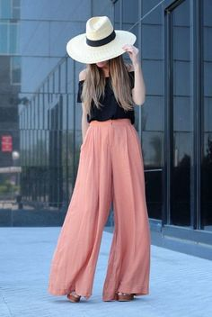 spring / summer - street style - boho chic style - street chic style - summer outfits - beach outfits - casual outfits - black off the shoulder top + pink wide leg pants + peach wide leg pants + brown platform sandals + straw wide brim hat