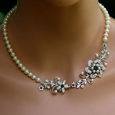 Pearl Wedding Bracelet, Swarovski Crystal Flower Bracelet, Vintage Wedding Jewelry, Swarovski Montana Blue , Sabine Fine. $59.00, via Etsy.