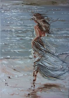 "Buy "" QUEEN OF THE WIND ... ""- SKY SEA SAND liGHt  ORIGINAL OIL PAINTING, GIFT, PALETTE KNIFE, Oil painting by Monika Luniak on Artfinder. Discover thousands of other original paintings, prints, sculptures and photography from independent artists."