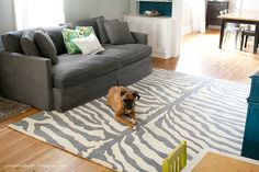 June & Bear: living room reveal: teal, lime, and gray.