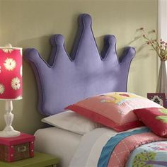 Youth Purple Polyester Princess Crown Twin Headboard