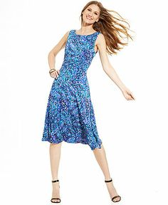 Jessica Howard Graphic-Print Tea-Length Dress - Dresses - Women - Macy's