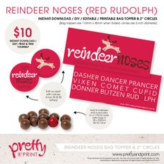 "Reindeer Noses - Bag Topper/ 2"" Circles (INSTANT DOWNLOAD / Editable / DIY / Printable) Red Rudolph"