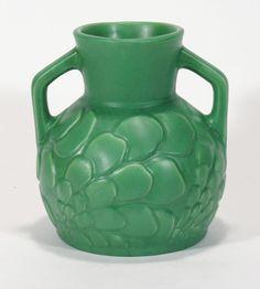 Camark Pottery Arkansas exceptional matte green floral handle vase arts & crafts