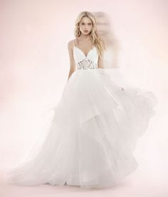 13beeb1f88e2 Style 1705 Dallas Blush by Hayley Paige bridal gown - Ivory tulle bridal  ball gown with draped sweetheart bodice, sheer lace insert at the natural  waist and ...