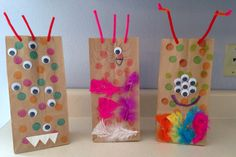 Paper Bag Monster Craft - Mike and Sulley's Brown Bag Lunches - Monsters, Inc. Movie Night - Disney Movie Night - Family Movie Night