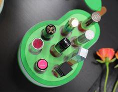 Wall Mounted Makeup Organizer, Wooden Makeup Organizer, Lipstick Organizer, Lipstick Holder, Makeup Shelves, Makeup Storage, Vanity Organization, Organization Ideas, Bathroom Vanity Storage