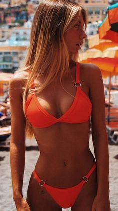 1bc2b83005 Orange Bandage Triangle Bikini Suits. Orange Bandage Triangle Bikini Suits  – Lilly Closet