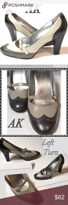 YOUR AK CHUNKY HEEL CONGRATULATIONS YOU HAVE ALL DAY CLASS! NOTICE THE EXTRAS THE TINY PINHOLE ACCENTS NORMAL SIGNS OF WEAR HAVE NOT TAKEN away from this timeless Statement Shoe. Try with Jeans for the Casual Business Day Anne Klein Shoes Heels