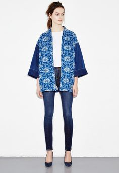 h Denim Kimono - Chinois Wash Love Clothing, Clothing Patterns, Kimono Fashion, Denim Fashion, Kimono Jacket, Print Jacket, Minimal Dress, Modern Kimono, Style Japonais