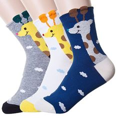 Womens Cute Animal Design Socks, Novelty and Funny and Cool Animal Cotton Crew Socks (Tiger line 4 Pairs) at Amazon Women's Clothing store: