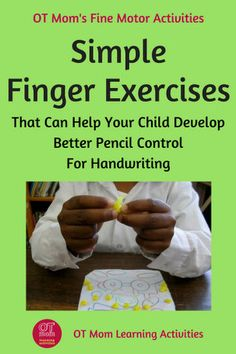 Use these finger exercises to help your child deveop better pencil control! Fine Motor Activities For Kids, Motor Skills Activities, Toddler Activities, Handwriting Activities, Handwriting Practice, Handwriting Exercises, Handwriting Worksheets, Finger Strength, Finger Exercises