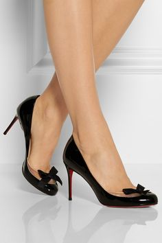 Christian Louboutin|Filove 85 patent-leather and mesh pumps|NET-A-PORTER.COM.  So stinkin cute.