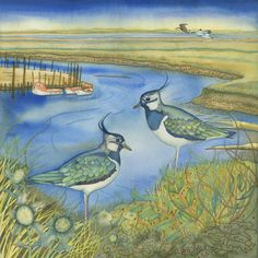 Lapwings at Morston Giclee print. by kategreen on Etsy