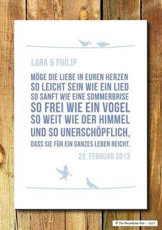 Hochzeit Poster mit Spruch // wedding typo poster via DaWanda.com: