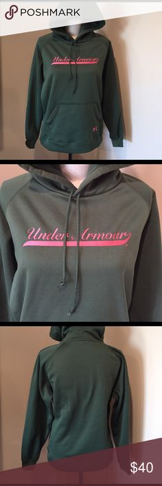 Nwot under armour hoodie NWOT, size medium. Hunter green and peach. No trades, no PP, no offsite transactions. Dog friendly smoke free home Under Armour Tops Sweatshirts & Hoodies