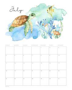 July Calendar, Free Calendar, Print Calendar, Monthly Calendars, Desk Calendars, Free Printable Stationery, Printable Calendar Template, Free Printables, Bellet Journal