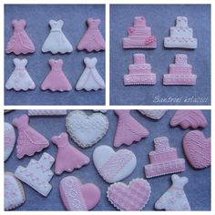 Decorated Cookies, pink, lace, white, wedding, royal icing, wedding dress, wedding cake cookies