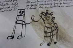 Keskiajan ja nykyajan lasten välillä ei ole eroa: he piirtävät samalla tavalla. Se selviää 1400-luvun kirjasta löytyneestä piirroksesta.