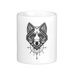 Fox, Wolf, Mug, Unique, Wildlife, geometric, native